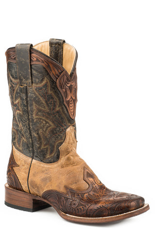 Stetson Mens Crackled Tan Leather Julian Cowboy Boots