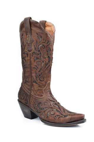 Stetson Womens 13in Laser Cut Brown Fashion Distressed Leather Western Cowboy Boots