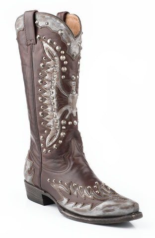 Stetson Eartha Ladies Grey Leather Metallic Eagle Studded Boots