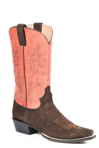 Stetson Ladies Red Leather Coral Crackle 13in Snip Toe Boots