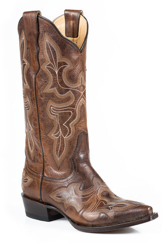 Stetson Jess Ladies Brown Leather 13in Burnished Tobacco Boots