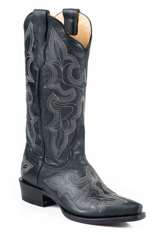 Stetson Jess Ladies Black Leather 13in Embroidered Boots