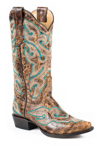 Stetson Vintage Ladies Brown Leather Distressed 13in Crackle Boots