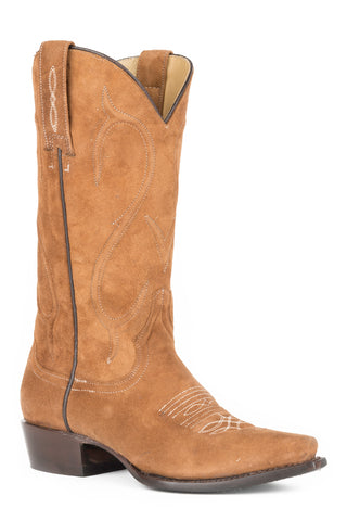 Stetson Reagan Snip Ladies Brown Leather 13in Rough Out Corded Boots