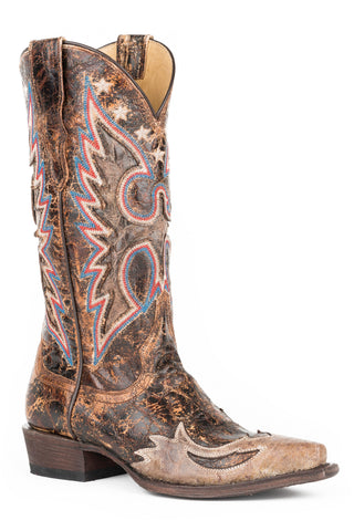 f62b91cd35afc Free Shipping · Stetson Cognac Womens Brown Leather Reagan Cowboy Boots