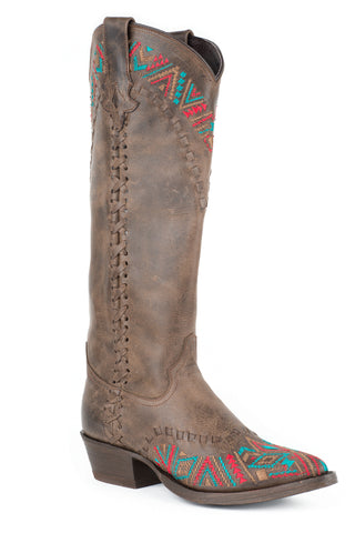 Stetson Doli Ladies Brown Leather 15in Embroidered Cowboy Boots