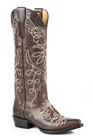 Stetson Boots Ladies Brown Leather 15in Adeline Burnished Fashion