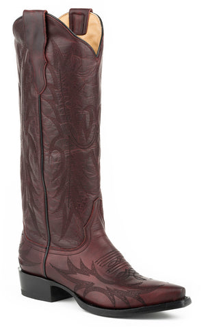 Stetson Violet Ladies Wine Leather 15in Backzip Burgundy Boots