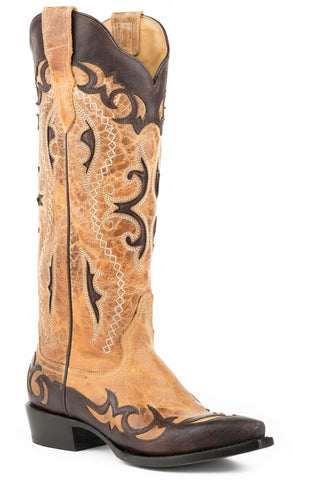Stetson Vivi Snip Ladies Brown Leather 15in Crackled Crown Boots