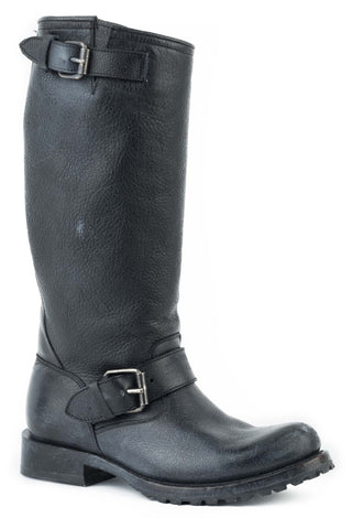 Stetson Womens Black Leather Streetwise Motorcycle Boots