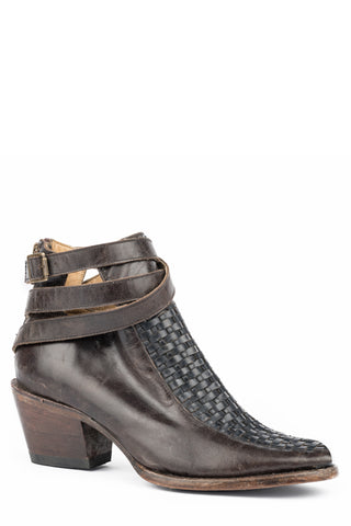 Stetson Basketweave Womens Brown Leather Jacey Ankle Boots