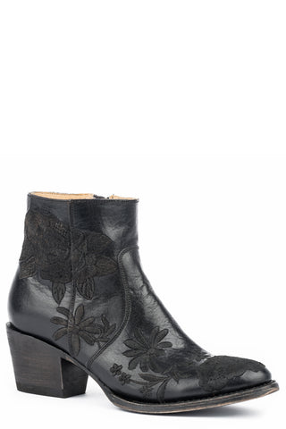 Stetson Womens Black Leather 5In Floral Frankie Ankle Boots