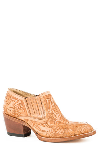 Stetson Tooled Womens Burnished Tan Leather Nina Ankle Boots