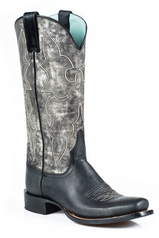 Stetson Boots Ladies Black Leather 13in Rachelle Marbled Fashion