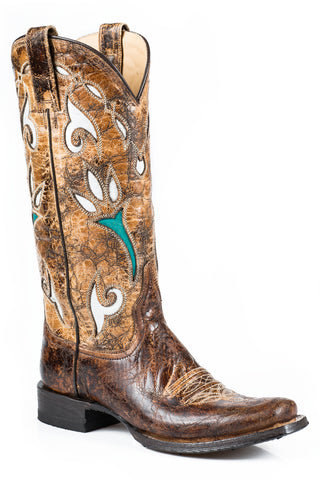 Stetson Boots Ladies Brown Leather Gold 13in Cowgirl Tulip Fashion