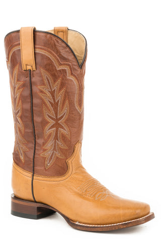 Stetson Jessica Womens Tan Leather Burnished Cowboy Boots