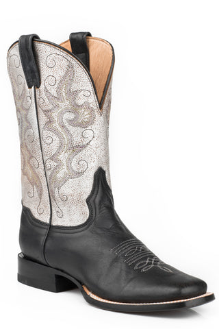 Past Womens Black Leather Silver Metallic Cowboy Boots