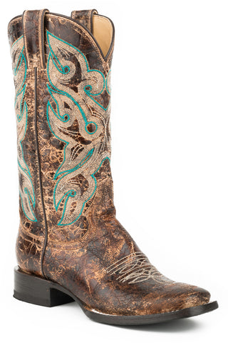 Stetson Sadie Ladies Brown Leather 12in Distressed Embroidered Boots