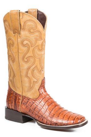 Stetson Boots Ladies Brown Caiman Skin Square Toe 11in Matte Cowboy