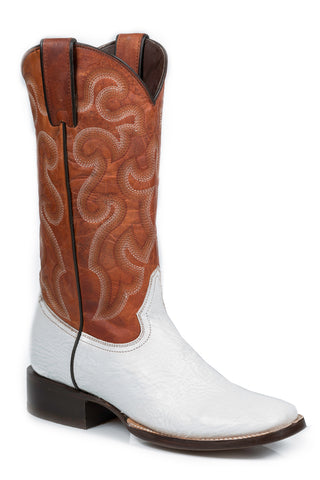 Stetson Boots Ladies White Shark Skin Brown 11in Cowboy