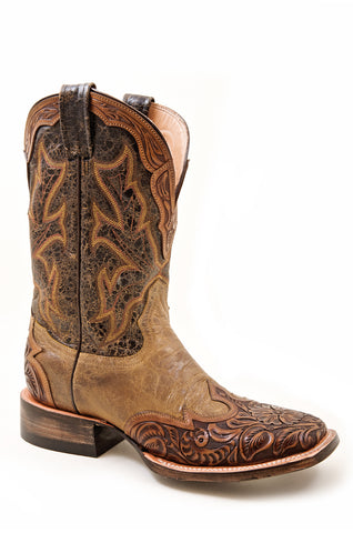 f1c33ba49e1 Stetson Womens Riding Tooled Orange Wingtip Leather Western Cowboy Boots