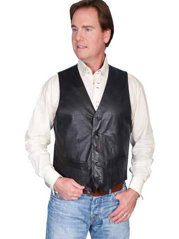 Scully Leather Mens Black Lambskin Contemporary Vest
