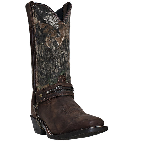 Laredo Mens Brown Gaucho Leather Hitch 12in Mossy Oak Shaft Cowboy Boots