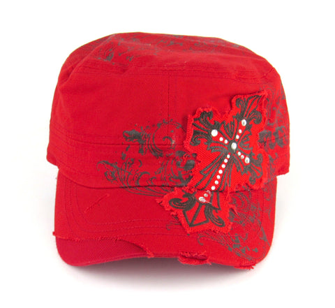 Savana Red 100% Cotton Ladies Red Hat Studded Cross