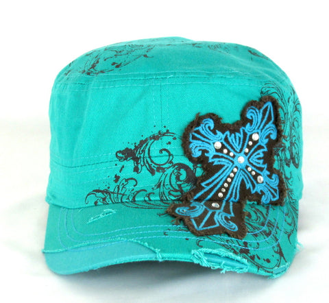 Savana Turquoise 100% Cotton Ladies Turquoise Hat Studded Cross