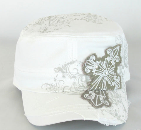 Savana White 100% Cotton Ladies White Hat Studded Cross