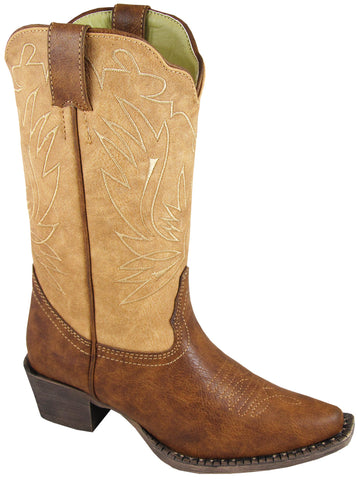 Smoky Mountain Boots Children Girls Madelyn Brown/Tan Faux Leather Cowboy