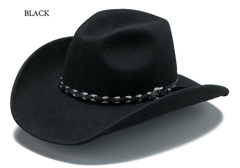Outback Trading Co. Wallaby Mens Hat Black Australian Wool UPF50 Leather