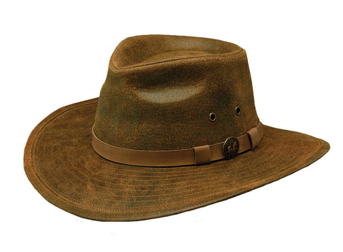 Outback Trading Co. Leather Kodiak Mens Hat Brown Shapeable Wire Brim UPF50