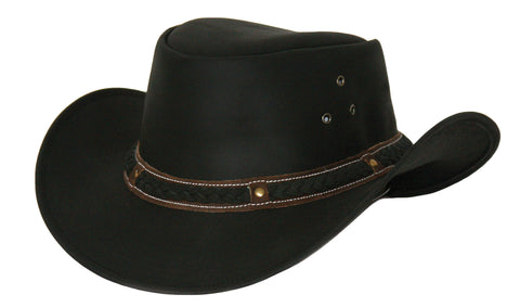 Outback Trading Co. Wagga Wagga Mens Hat Black Top-Grain Leather UPF50