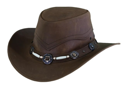 Outback Trading Co. Suntroy Mens Hat Cognac Top-Grain Leather UPF50