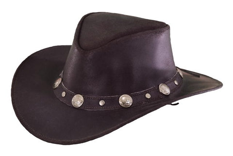 Outback Trading Co. Rawhide Mens Hat Chocolate Top-Grain Leather UPF50