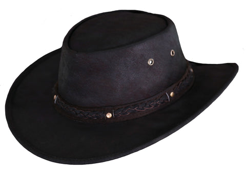 Outback Trading Co. Iron Bark Mens Hat Chocolate Crushable Leather UPF50