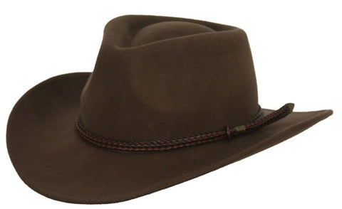 Outback Trading Co. Broken Hill Mens Hat Brown Australian Wool UPF50