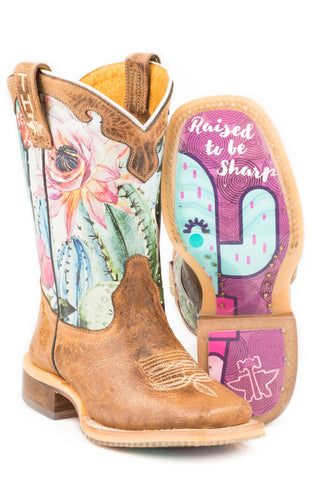 Tin Haul Girls Toddler Pink/Tan Leather Cactilicious Cowboy Boots