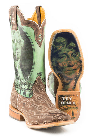 Tin Haul Mens Brown Leather Deuce Money Cowboy Boots