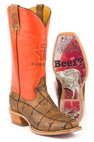 Tin Haul Prime Cut Barbwire Mens Tan Leather Cowboy Boots