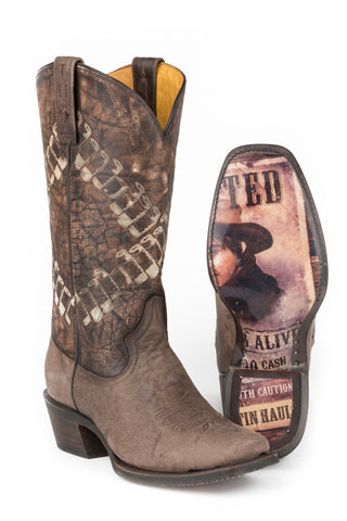 Tin Haul Bandolero Bullets Mens Brown Leather Cowboy Boots