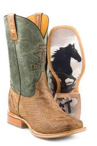 Tin Haul Mens Oily Brown Leather Horse Power Cowboy Boots