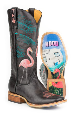 Tin Haul Trailerhood Flamingos Ladies Black Leather Cowboy Boots