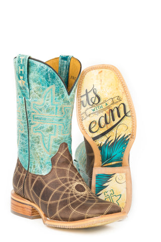 Tin Haul Womens Blue/Brown Leather Dreamcatcher Cowboy Boots