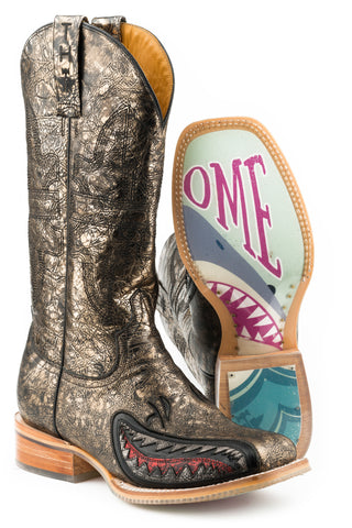 Tin Haul Womens Metallic Gold Leather Jawsome Cowboy Boots
