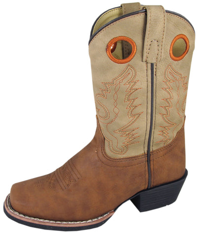 Smoky Mountain Boots Youth Boys Memphis Tan Faux Leather Cowboy Square Toe