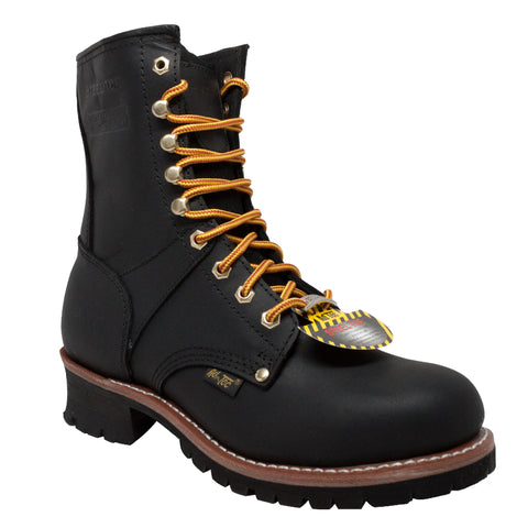AdTec Mens Black 9in WP ST Logger Work Boots Oiled Leather