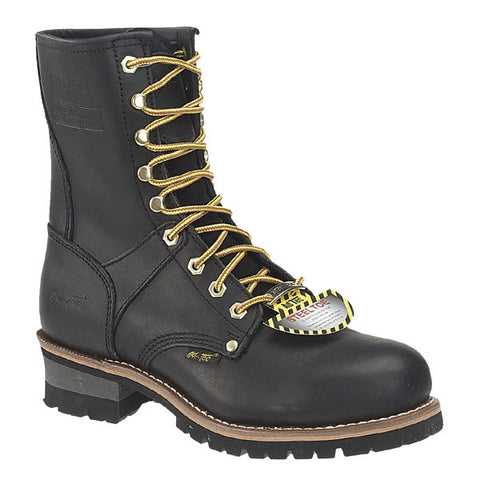 AdTec Mens Black 9in Steel Toe Logger Full Grain Oiled Leather