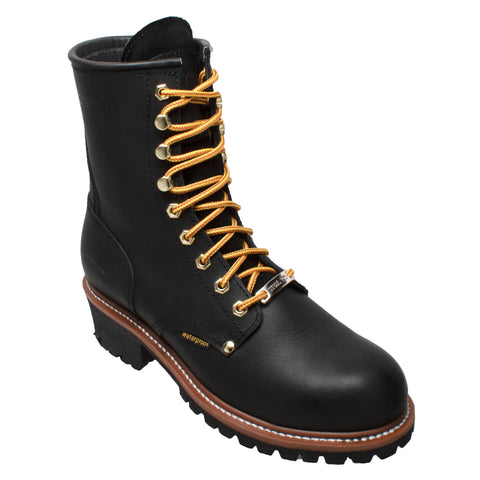 AdTec Mens Black 9in WP Logger Boots Oiled Leather
